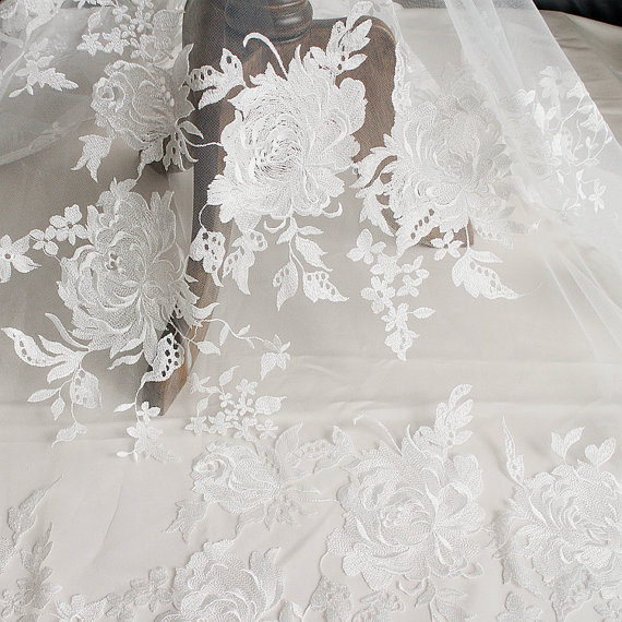 1 yard Ivory white lace fabric for bridal dress, wedding gown floral Lace accessories fabric, couture design lace