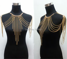 ¡ VENTA CALIENTE! B700 moda Mujeres Color Oro Diseño Único Atractivo Del Arnés de Cuerpo de La Joyería Cadenas de Joyería 3 Colores
