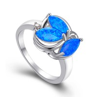 Vintage in Fashion Jewelry Blue Fire Opal With 925 Sterling Silver Rings for woman RP0006