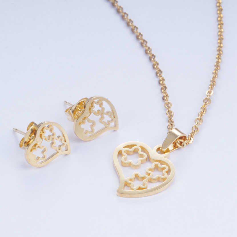 Yunkingdom Romantic Heart Shape Earrings Stainless Steel Pendant Necklace Earrings for Women Dubai Indian Wedding Jewelry Sets