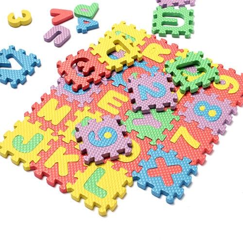 36pcsset kids child baby infant mini maths educational puzzle kid alphabet letters numeral foam