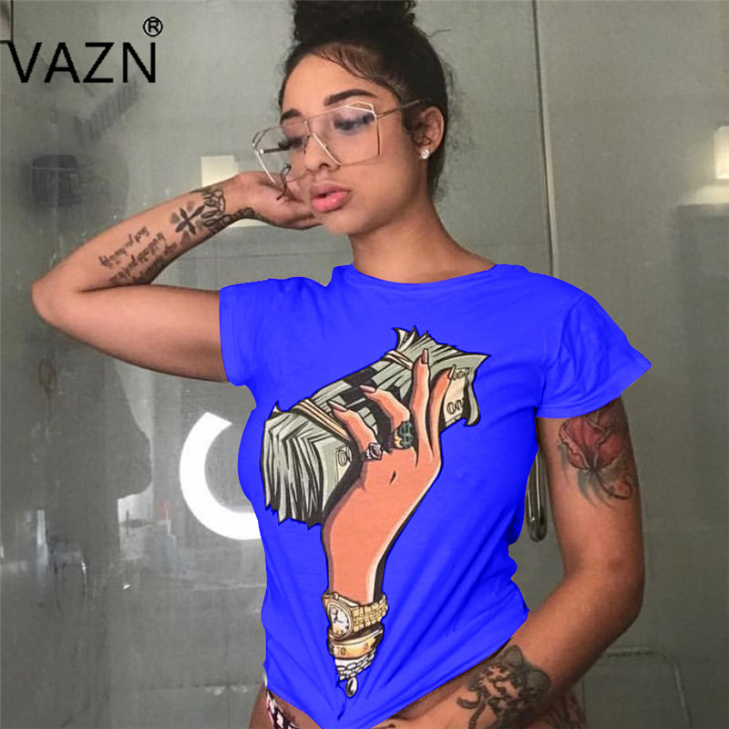 Official Website Vazn 2018 Hot Personality Fashion Ladies Casual Women Network Tees O-neck Short Sleeve Summer Women Soft Brand Tees Yt3009