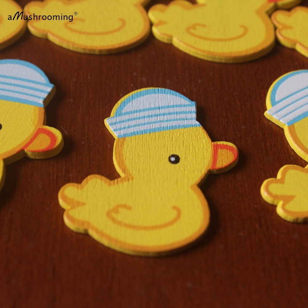 50 Unfinished Cute Duck Wooden Pieces Small Duckie Party Decoration ...
