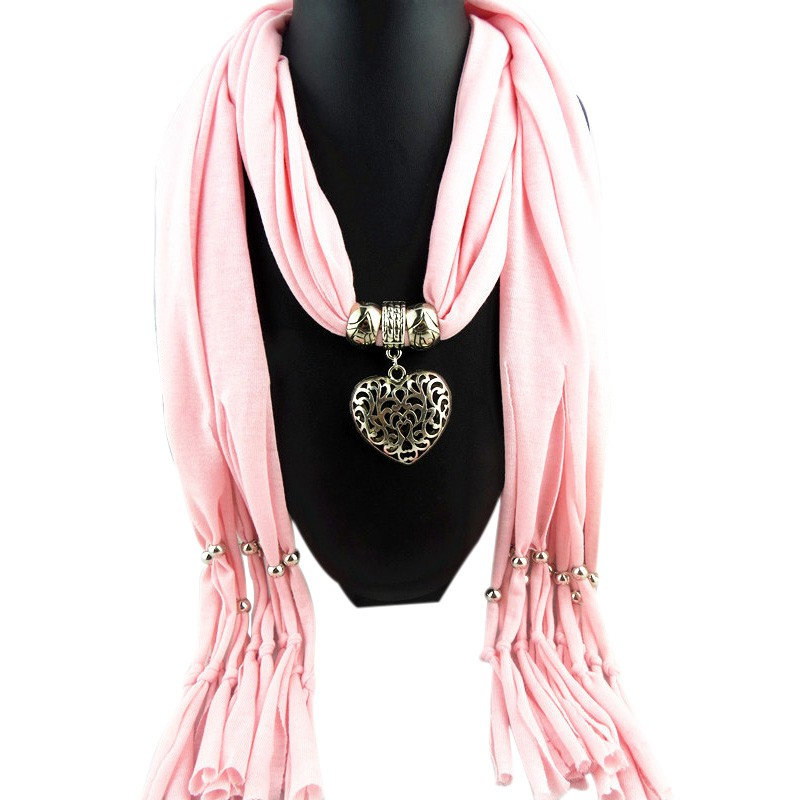 Women Elegant Lady Jewllery Heart Gemstone Necklace Pendant Scarf Girls Tassel Scarves Shawls