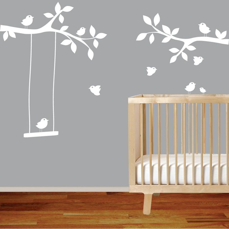 popular nursery wall decalsbuy cheap nursery wall decals lots  - tree branches wall decal with birds nursery wall decal decor art stickermural  swing
