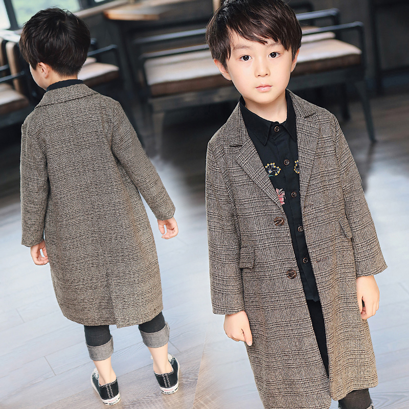 Baby boy jacket fashion plaid single-breasted boy jacket spring and autumn new children's small suit big children casual jacket