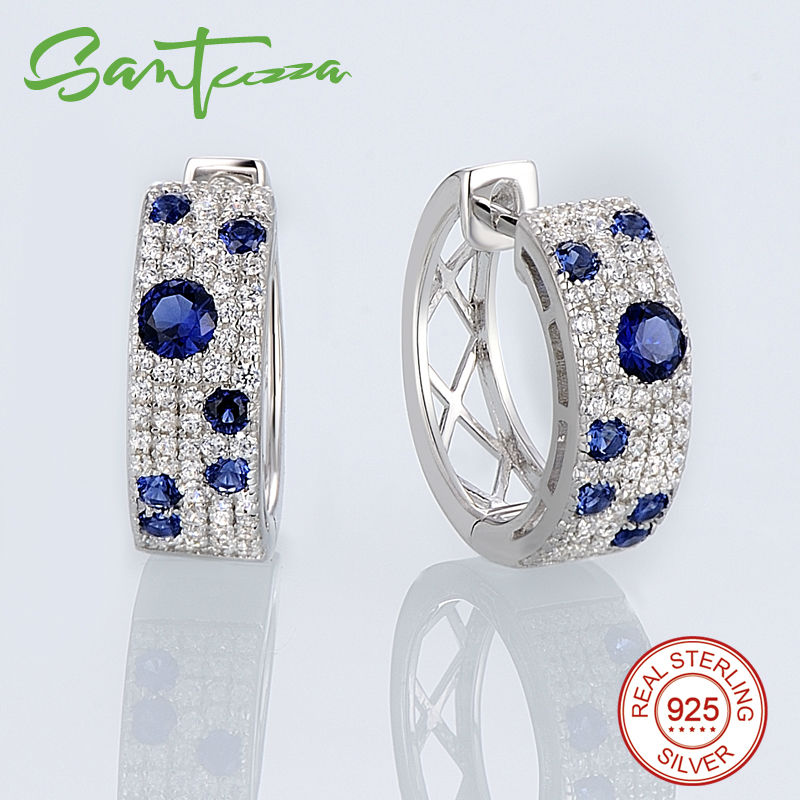 Image 3 - SANTUZZA Jewelry Set for Women Gorgeous Blue Nano CZ Earrings Ring Set Genuine 100% 925 Sterling Silver Sparkling Jewelry Set-in Jewelry Sets from Jewelry & Accessories