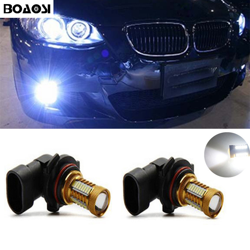 BOAOSI 2x H11 H8 LED canbus 4014SMD Bulbs Reflector Mirror Design For Fog Lights For BMW E39 325 328 M mini SPORT boaosi 1x h11 led canbus 5630 33 smd bulbs reflector mirror design for fog lights no error for audi a3 a4 a5 s5 a6 q5 q7 tt