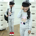 Bear autumn cotton long pants & pullover sweatshirt for 3 4 5 6 7 8 9 10 11 12 years girl childen set clothing girls clothes