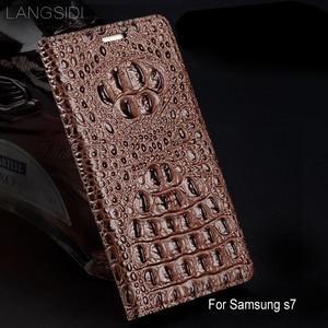 Image 1 - wangcangli genuine leather flip phone case Crocodile back texture For Samsung Galaxy s7 All handmade phone case