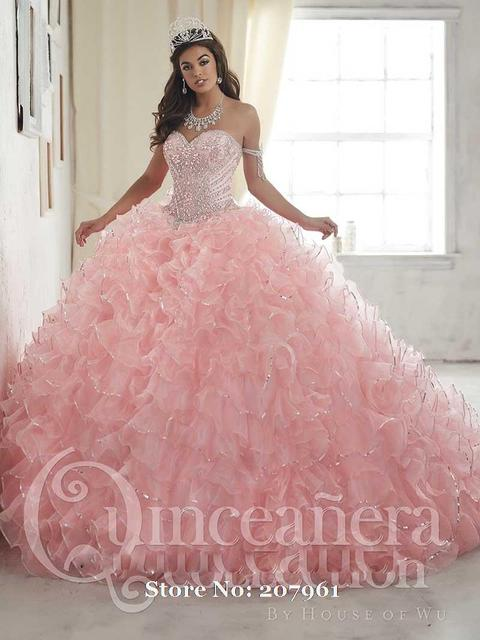 574df9ee2 Gardlilac Pink Quinceanera Dresses 2017 Pink Ball Gown Crystal beads Vestidos  De 16 Anos Tiered Cheap