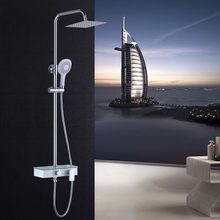 цена на Bathroom Hot and Cold Water ABS Shower Set Full Copper Ultra-thin Booster Function Brass Mixer Tap Dual Handles Wall Mounted