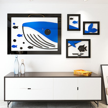 Nordic ins wall sticker Art creative 3d whale acrylic self-adhesive porch living room photo frame stickers cartoon