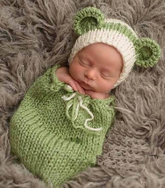 Green Baby Sleeping Bags Newborn Baby photography Props Handmade Make  Photoes Costume Knitted Cotton Crochet Hat Caps a87c25a12d0