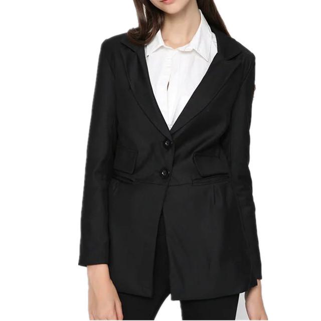 Nova Europa Inverno Mulheres Pequeno Suit Mulheres Blazers Único Breasted Longo Fino Preto Desgaste Do Escritório Terno H185