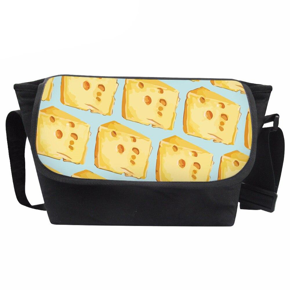 Customized Messenger Bag Women Food Print Bag Ladies Daily Shoulder-bag Girls Cute Cheese Pattern School Bags Bolsa