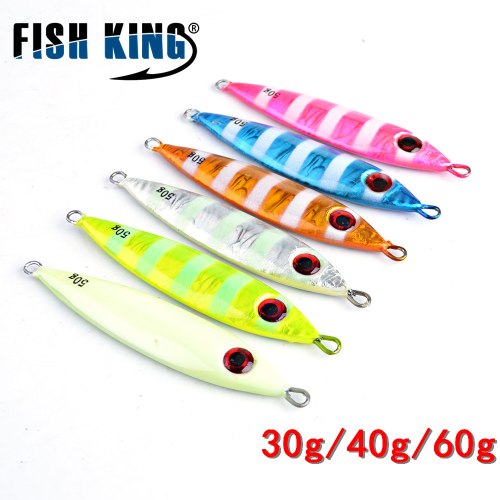 FISH KING 1PC 30G/40g/60G 3D eyes Laser Body Back Luminous Metal Jig Lure Paillette Knife Artificial Hard Bait Sea Fishing Lure 30pcs set fishing lure kit hard spoon metal frog minnow jig head fishing artificial baits tackle accessories