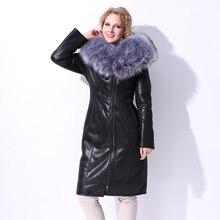 2017 winter Faux Fur coat women long suede Plush Slim fashion silver Artificial Fox Fur Collar Large size Factory direct supply