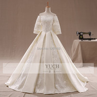 Top Sale New2019 Actual Images A Line Floor Length Court Train Appliques Strapless Charmeuse Half Sleeve Wedding Dress