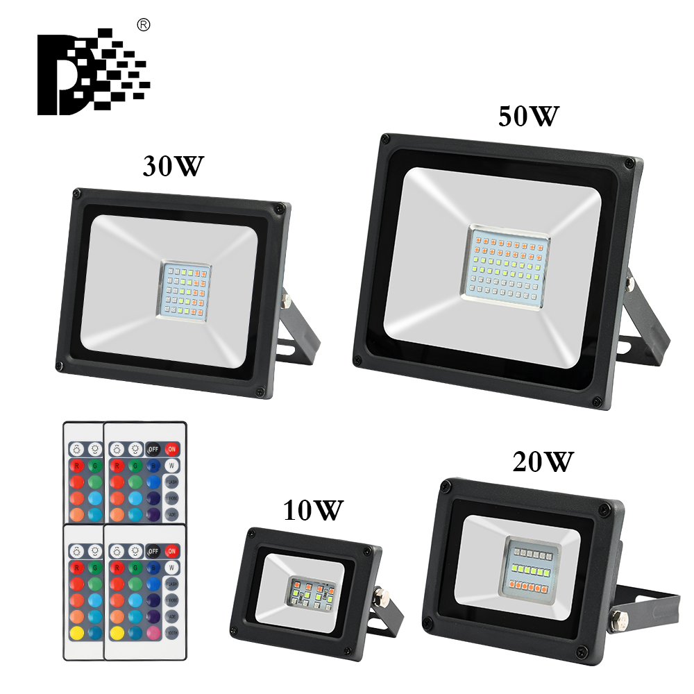 10W 20W 30W 50W RGB LED Flood Light Color Changing Led Reflector Waterproof Outdoor Spotlight 220V Projector Lamp