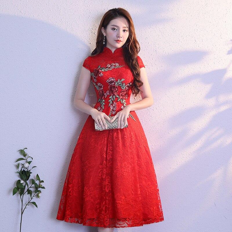 Красный современный китайское платье Qipao сексуальная Cheongsam бежевые платья Повседневное для женщин кружево традиционный вечернее платье ...