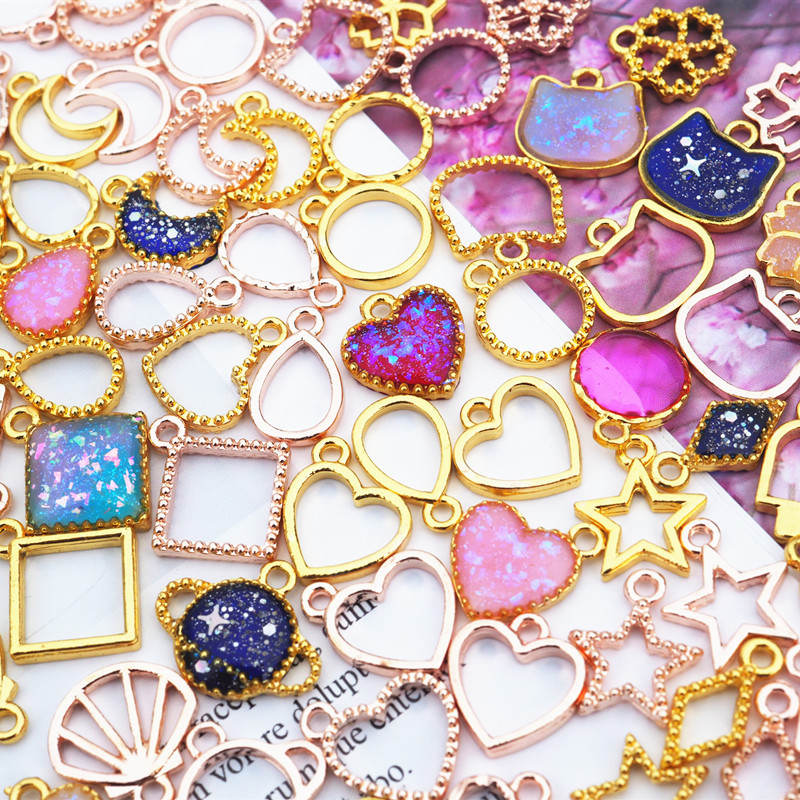 Базовая открытая эпоксидная мини-форма из золотистой УФ смолы, металлические подвески, ювелирные изделия, подвеска, ожерелье, аксессуары, и...