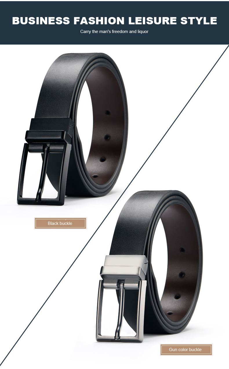 DOULILU Double-sided available Two-layer leather pin buckle belt Men's double-sided leather casual fashion belt rotation buckle  For Men Jeans Casual Belt Pin Buckle Masculine Cummerbund1 (8)