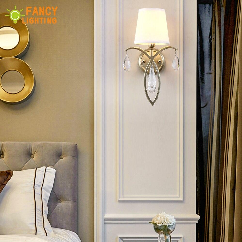 (E14 ampoule gratuite) applique moderne fer mur LED lumière pour la maison/salon wandlamp escaliers lumière LED abat-jour en tissu appliques murales