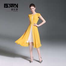 GYALWANA New style,fashion splicing,round collar,short sleeve, front fork yellow chiffon dress.office ladies and party dresses.