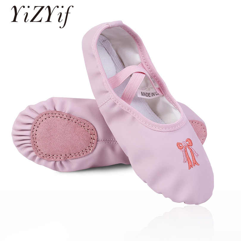 YiZYiF Ballerina Shoes Kids Girls ballet dance shoes PU Leather Slippers  Split Sole Flats Girls Professional ad40b1efedb2