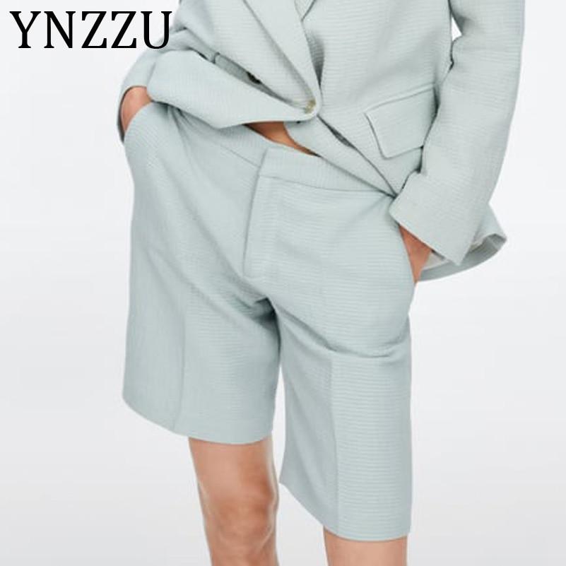 YNZZU 2019 New Summer Women Shorts Solid Casual High Waist Zipper Shorts Loose Female Short Mujer Pockets Women Bottoms AB178