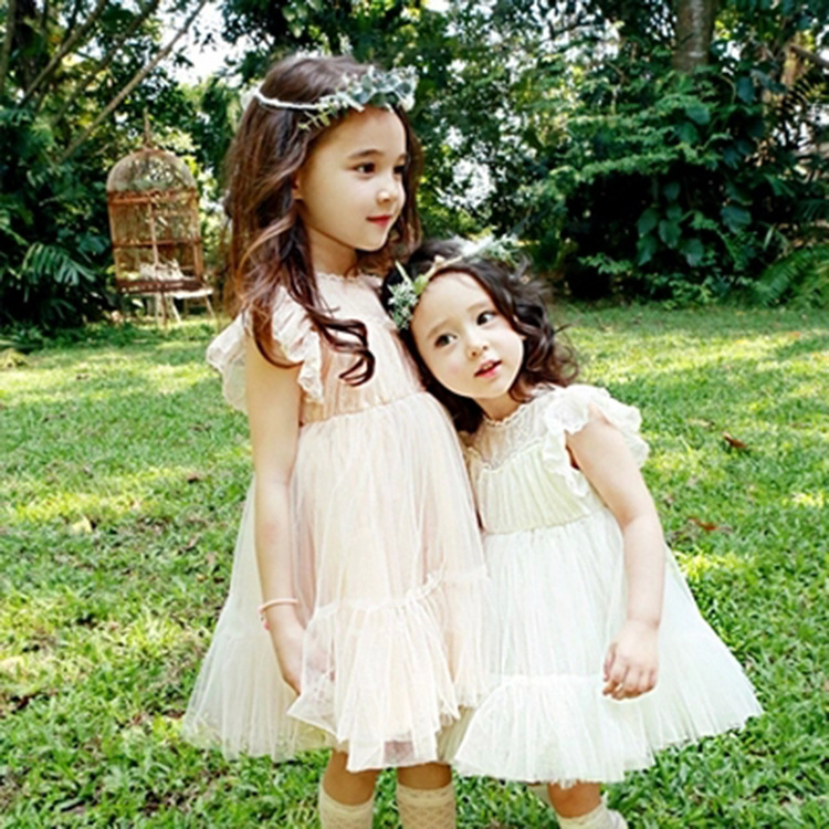 Korean New Summer Girls Sweet Princess Dress Vest Lace Kids Clothing White Pink