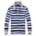2016 otoño nuevo mens de la llegada camisa de polo de manga larga a rayas rayas camisa de polos de los hombres casual slim fit 100% algodón tee shirt homme
