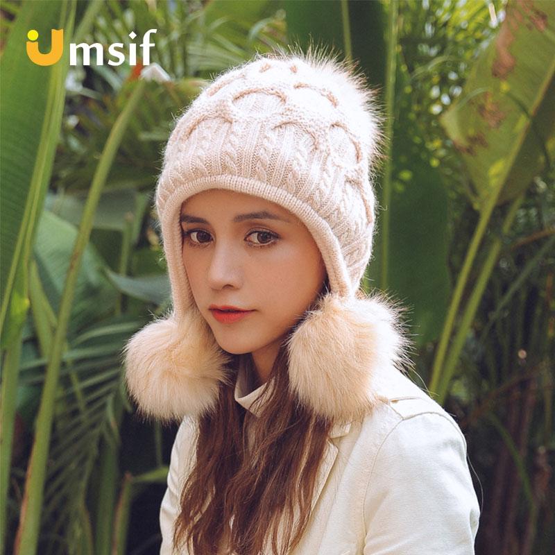 Winter Warm Beanies Hat For Women 2018 New Brand Women's Thicken Wool Plaid Pompoms Bomber Hats Female Fleece Peru Hats Caps