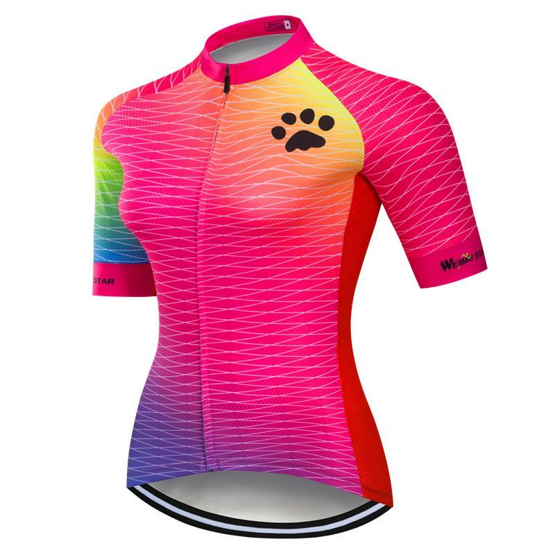 Weimostar pro equipo mujeres ciclismo Jersey transpirable ropa de bicicleta de verano de manga corta MTB camiseta de Ciclismo de secado rápido