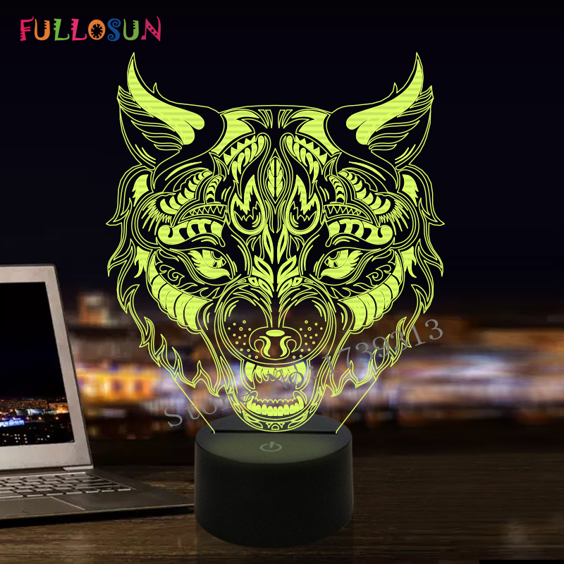 FULLOSUN Novelty 3D Illusion LED Light Animal Leopard Model Table Lamp as Bedroom Nightlights for Friends Birthday Gifts