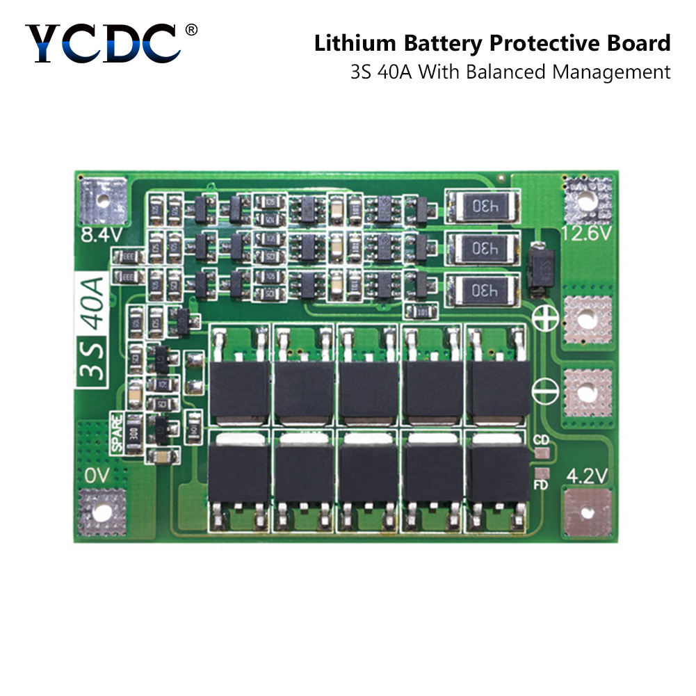 YCDC 3S 40A Li-ion 18650 BMS PCM Battery Protection Board BMS PCM With Balance For Li-ion Lipo Battery Cell Pack Module