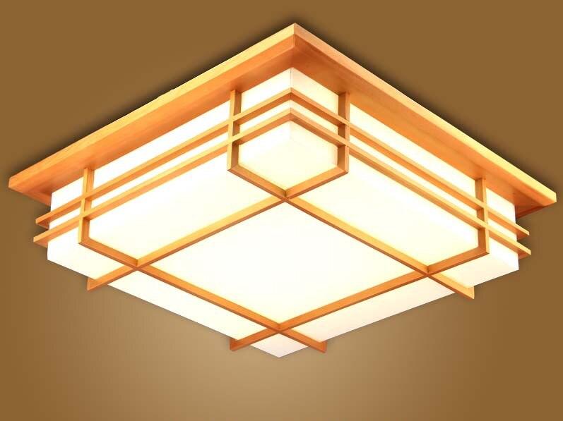 US $80.1 10% OFF|Japońskie wewnętrzne oświetlenie LED lampa sufitowa kwadratowa 45 55cm Tatami Decor lampa LED drewno papier restauracja salon