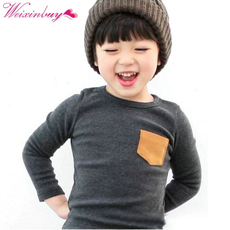Toddler Baby Crewneck T-shirt Pocket Deco Boy Girl Shirt Top Long Sleeve Clothes