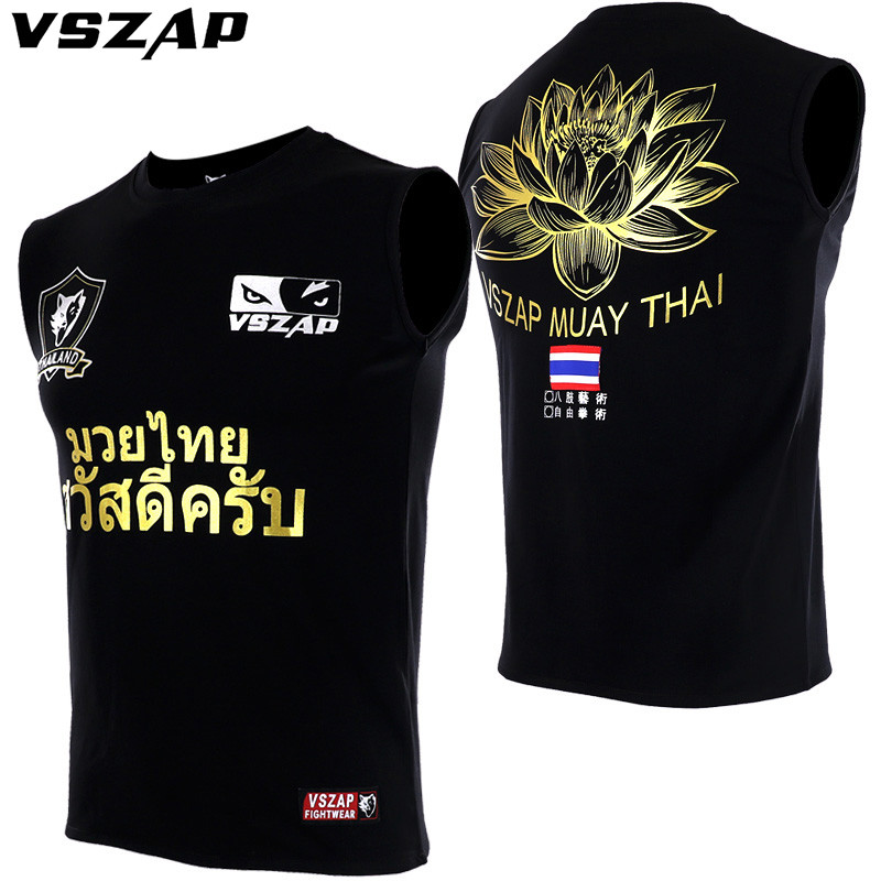 VSZAP Brand Golden Men's MMA Shirts Sleeveless Vest Fight Muay Thai T Shirt Elasticity Moisture Perspiration Wolf Printing