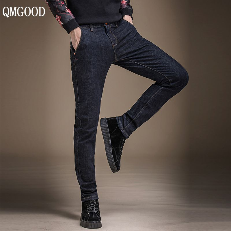 QMGOOD 2017 Mens Jeans New Fashion Men Casual Cotton Jeans Slim Straight Elastic Jeans Loose Waist Long Trousers Hot Sales 30 31 new design skinny mens jeans men brand fashion male casual cotton slim straight elasticity pants loose waist long trousers denim