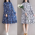 New 2016 Autumn Women Cotton Linen empire Dress vintage printed elegant China Style flare dress linen dress mandarin collar