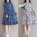 Novo 2016 outono mulheres algodão linho vestido império impresso do vintage elegante estilo china vestido de flare vestido de linho gola mandarim