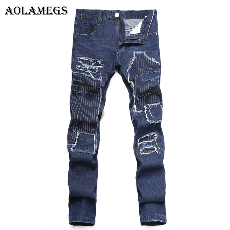 Aolamegs Men Jeans Hole Pants Patchwork Embroidery Cloth Full Length Trousers Zipper Summer Splicing Light Button Denim Straight