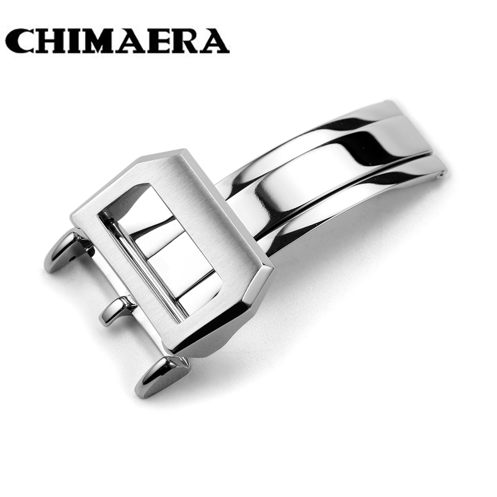 цены на Top quality 316L Stainless Steel Watch Band Butterfly Brushed Folding Buckle 18mm Deployment Clasp For IWC Big Pilot Free ship в интернет-магазинах