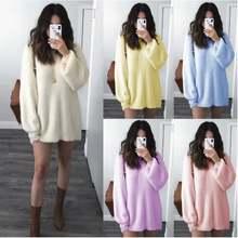 Осеннее вязаное платье свитер для женщин 2021 дамы с o образным