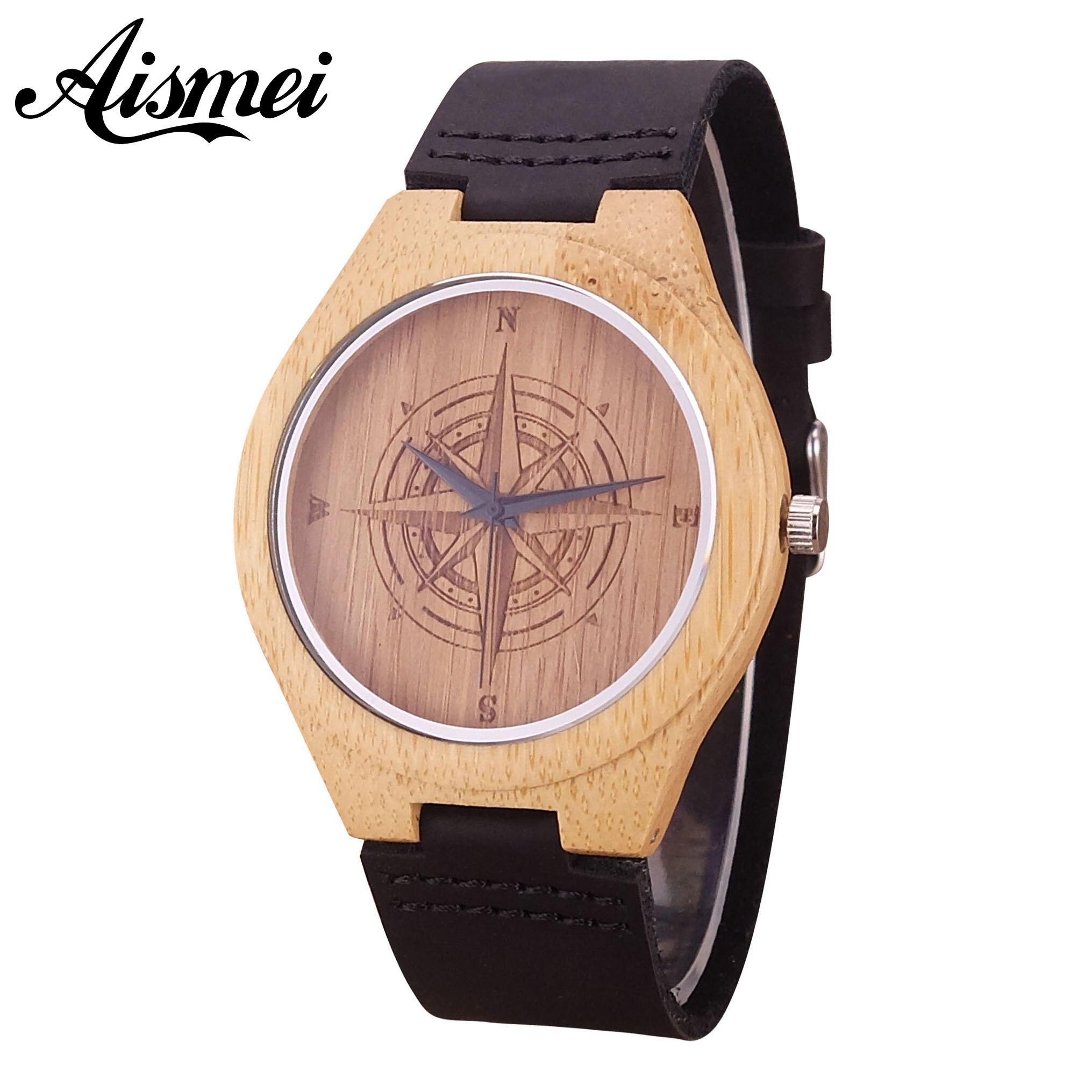 2018 nueva Brújula de madera reloj de los hombres de moda de hombre relojes  de marca 4869a27fbac6