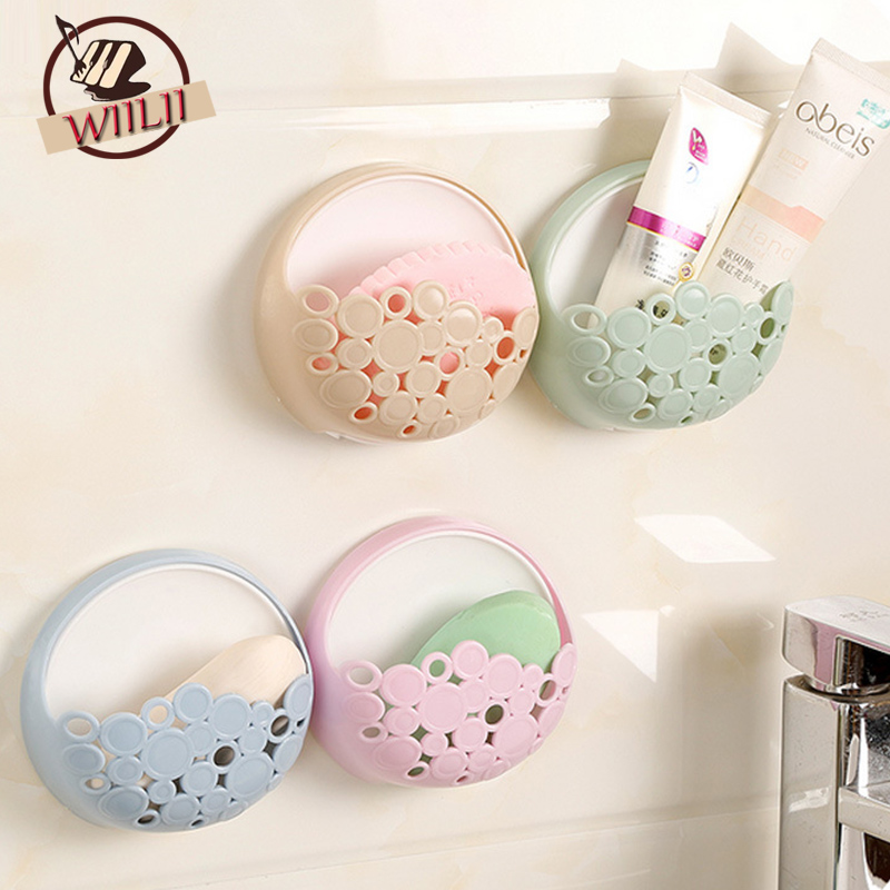 Suction Cup Soap Holder Dish Bathroom Shower Storage Dishes Container With Hook