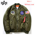 NASY Flight Bomber jacket Men Windbreaker Thin Black ALPHA MA1 Air Force Pilot Navy MA-1  Military Coat  1:1 Rocket Double-sided