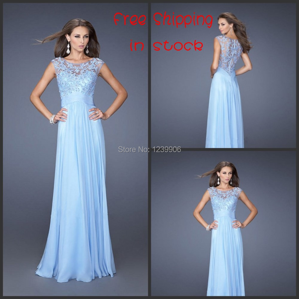 A line sleeveless chiffon long ice blue lace bridesmaid for Blue long dress wedding